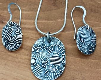 Silver Art Deco Jewellery set, Art Deco style pendant and earrings, jewellery set, floral, Art Deco, silver, matching pendant and earrings