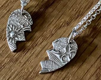 Best Friends split heart necklace, handmade split heart necklaces, BFF necklaces, friendship necklaces, couples necklace, best friends gift