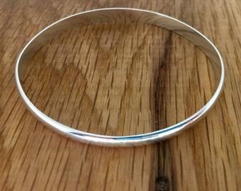 Thick Silver Bangle, Solid Silver Bangle, 6mm wide bangle, Silver domed bangle, D Wire bangle, Substantial bangle, Wide silver bangle