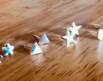 Tiny triangle studs, tiny studs, triangle earrings, small striangle studs, on trend jewellery, silver triangle studs