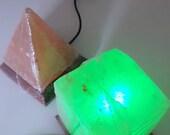 Colour Changing usb Salt Rock pyramid Lamp.