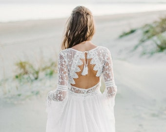 a04ba0878358 Long Sleeve bohemian wedding dress, boho wedding dress, lace wedding dress,  backless wedding dress, open back wedding dress, chiffon dress