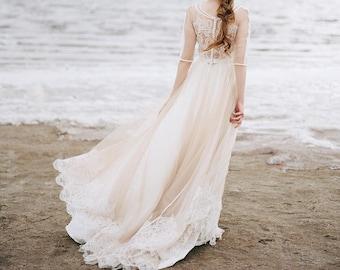 nude wedding dress, bohemian wedding dress, boho wedding dress, bridal dress, tulle wedding dress, nude wedding dress, ivory wedding dress