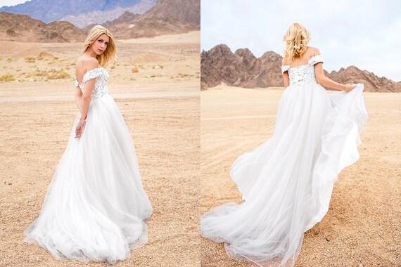 Gray wedding dress off shoulder lace wedding dress 1811 | Etsy