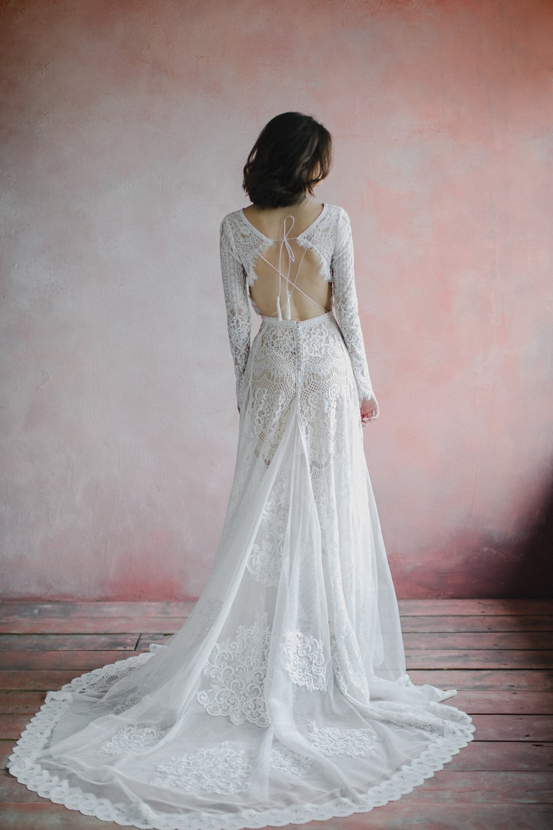 Amazing Long Sleeve bohemian wedding dress boho wedding image 0