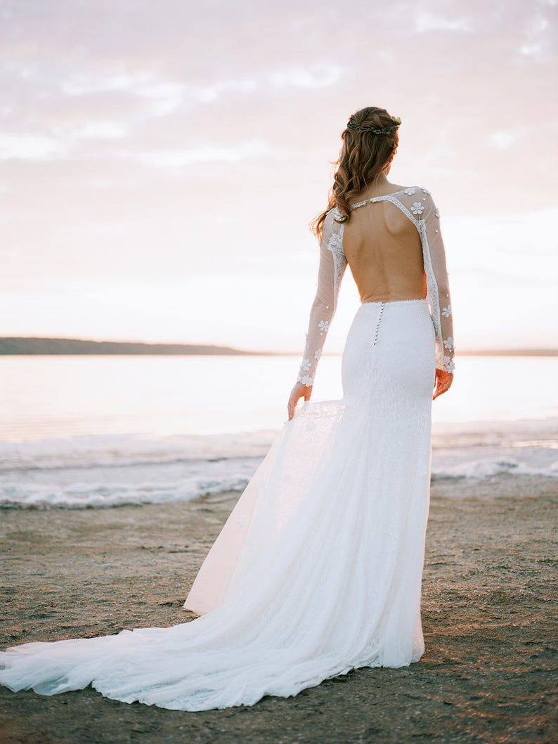 Open back wedding dress // mermaid wedding dress // backless image 0