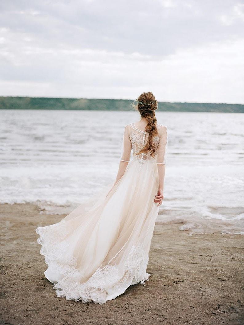 nude wedding dress bohemian wedding dress boho wedding image 0