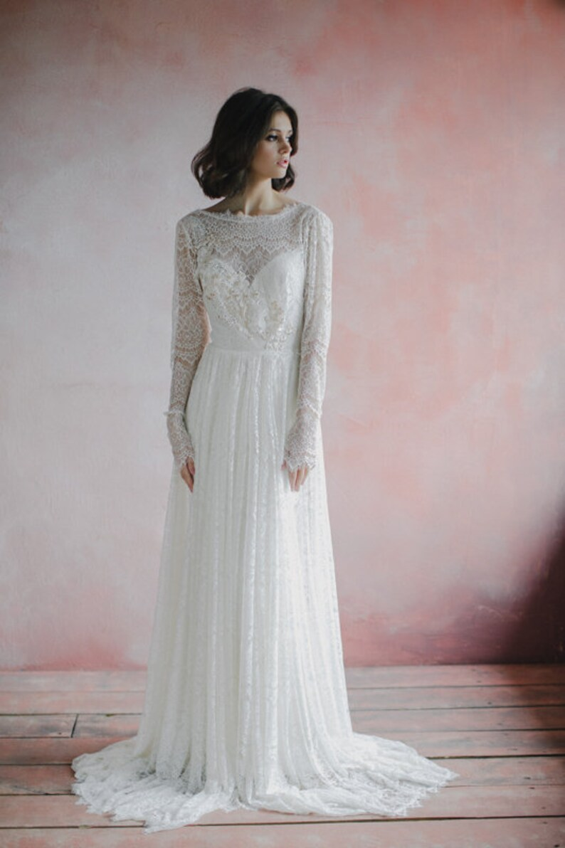 Open back bohemian wedding dress long fitted sleeves a-line image 1