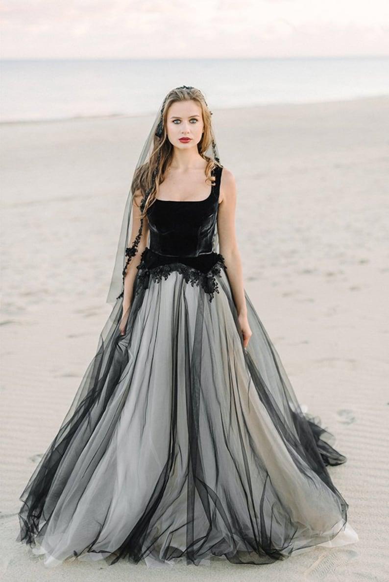 black wedding dress tulle wedding dressBlack bridal gown image 2
