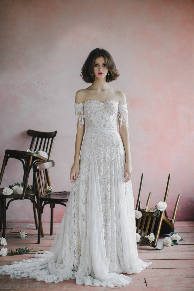 Sweetheart bohemian wedding dress Strapless corset bodice image 6