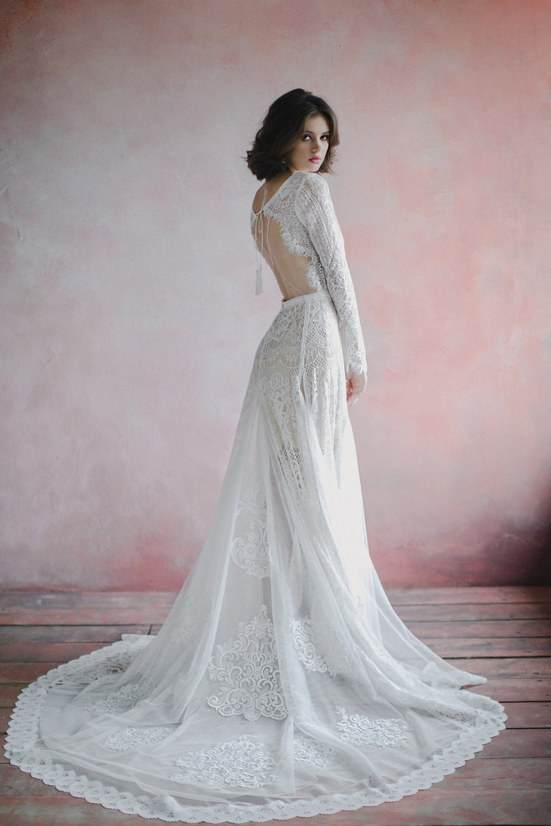 Amazing Long Sleeve bohemian wedding dress boho wedding image 5