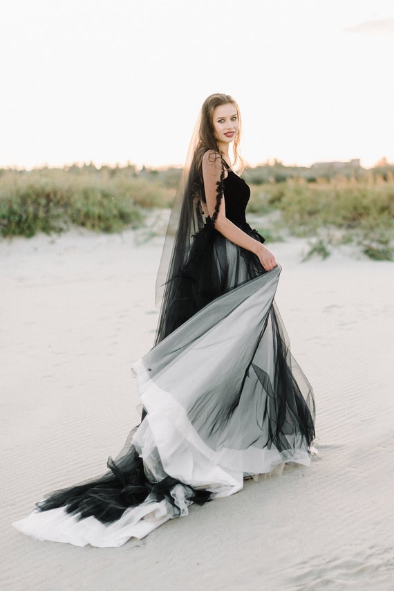 Black Wedding Dress Tulle Wedding Dressblack Bridal Gown Etsy