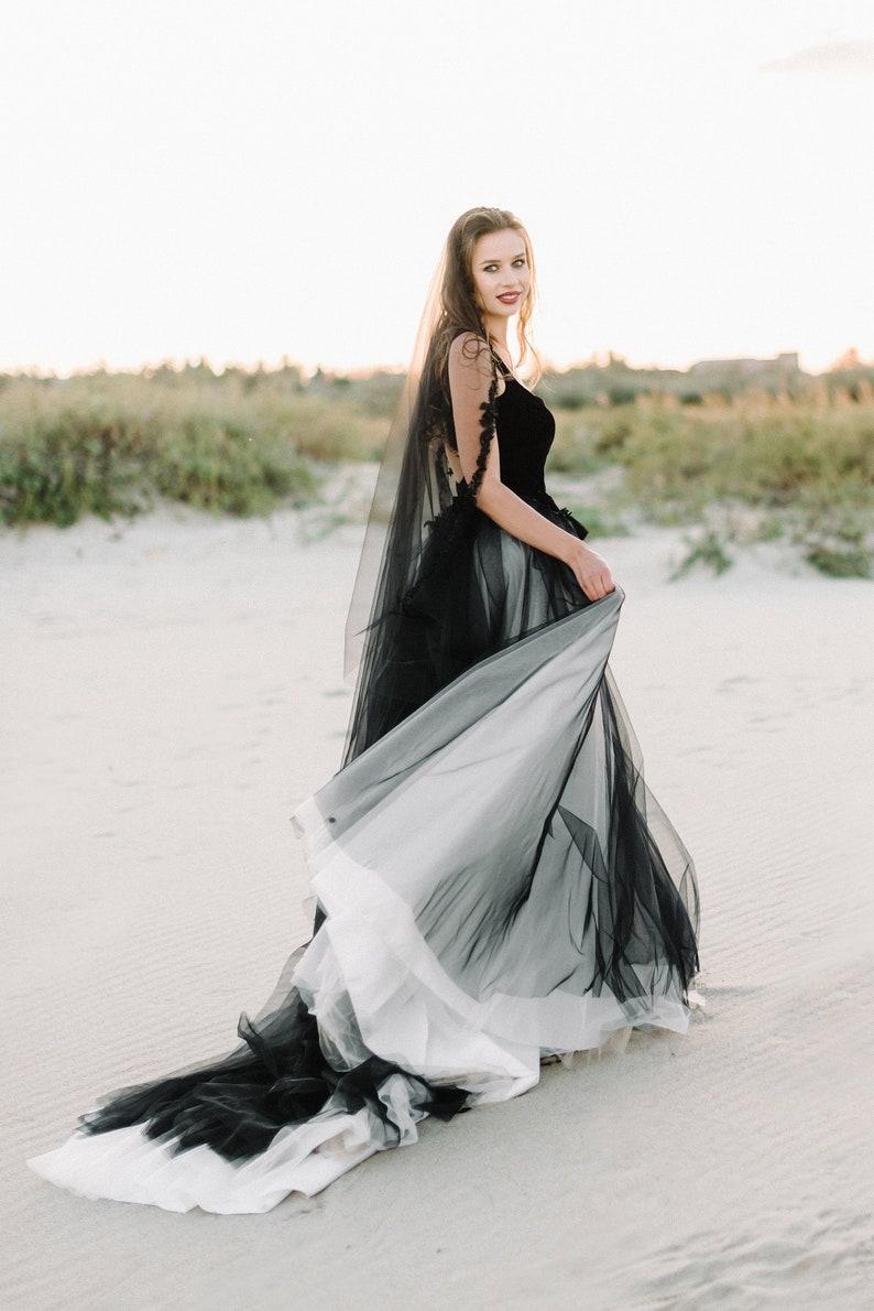 black wedding dress tulle wedding dressBlack bridal gown image 0