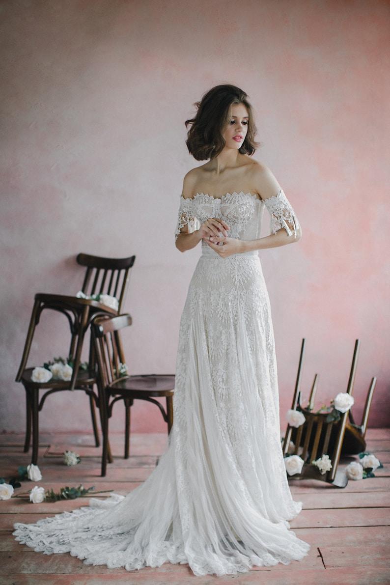 Sweetheart bohemian wedding dress Strapless corset bodice image 1