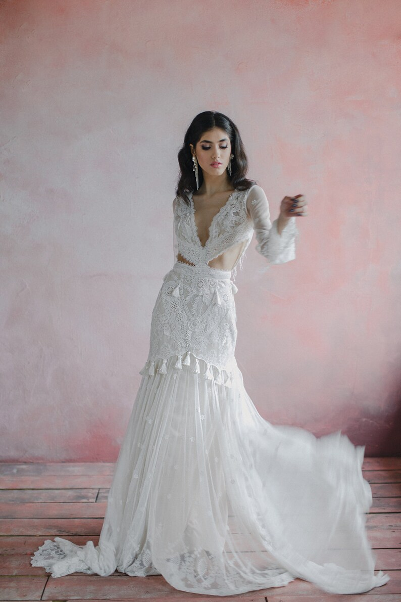 Lace mermaid bohemian wedding dress deep v-neck bell sleeve image 0