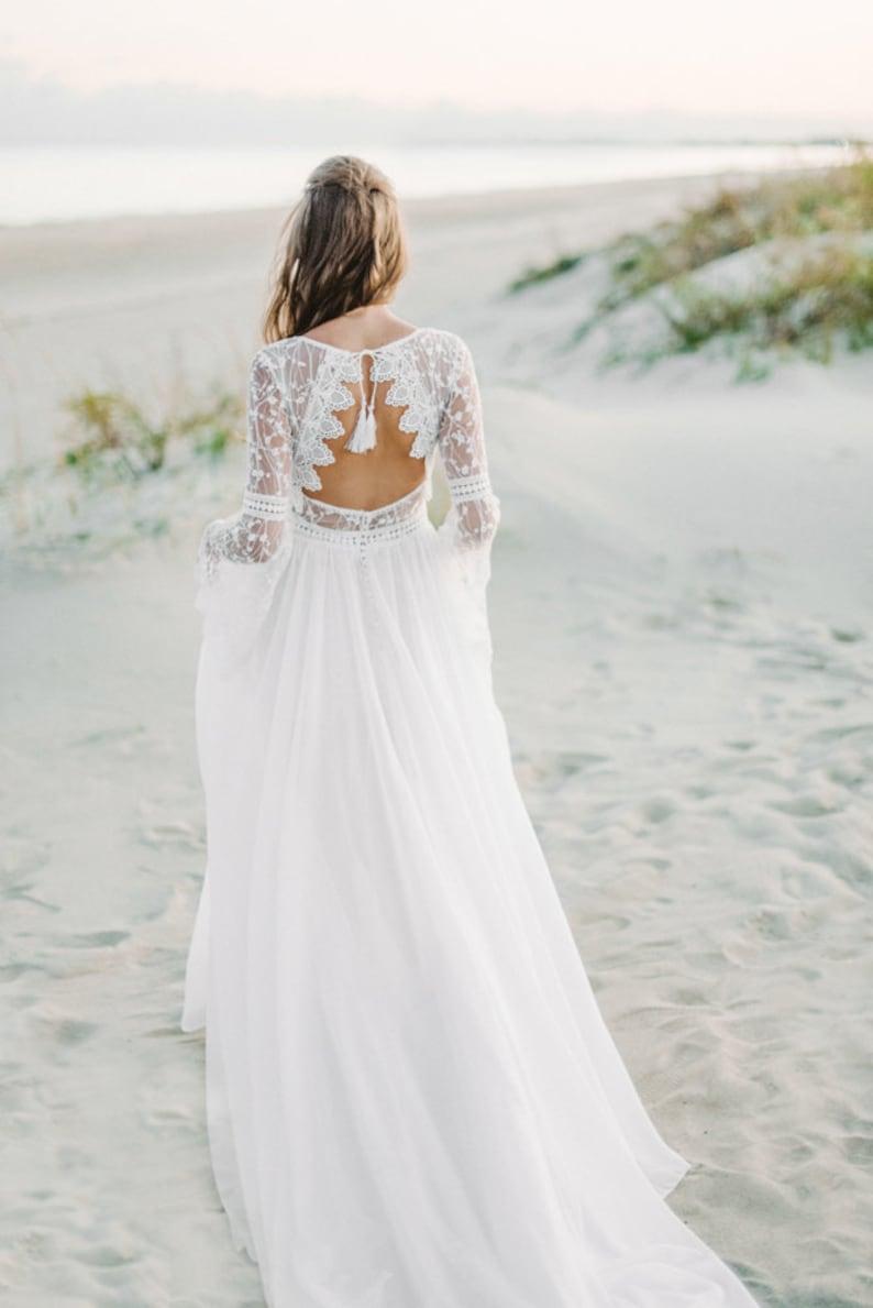 898d2a1ca48 Long Sleeve bohemian wedding dress boho wedding dress lace