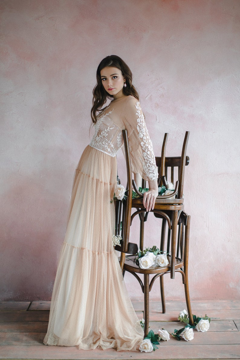 Nude wedding dress with bishop sleeves boho three-quarter image 1