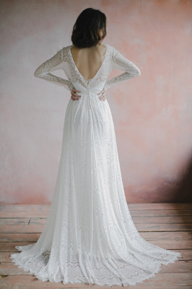Open back bohemian wedding dress long fitted sleeves a-line image 4