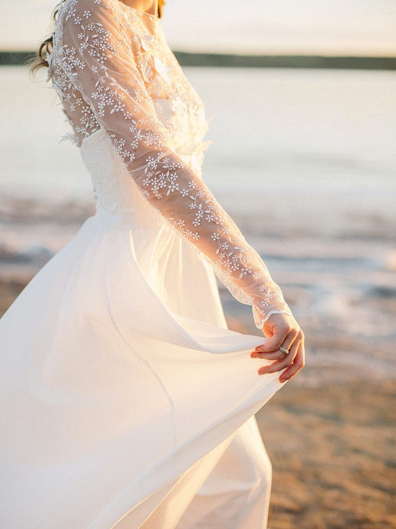 Bohemian Wedding Dress Long Sleeve Wedding Dress Two Piece Etsy