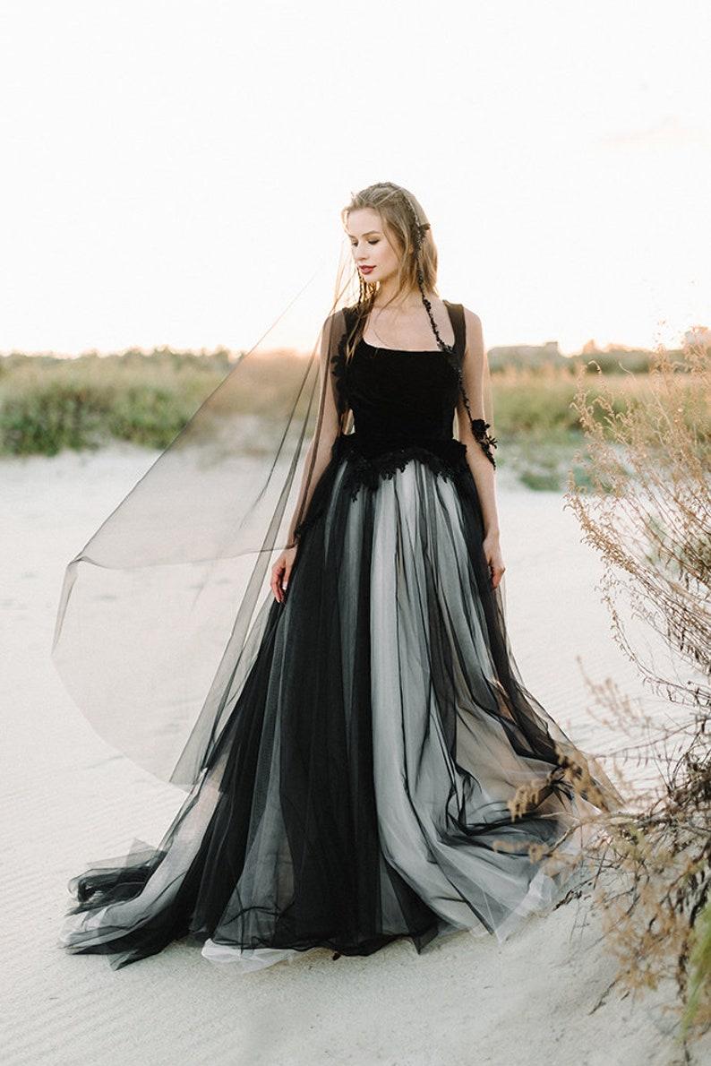 black wedding dress tulle wedding dressBlack bridal gown image 4