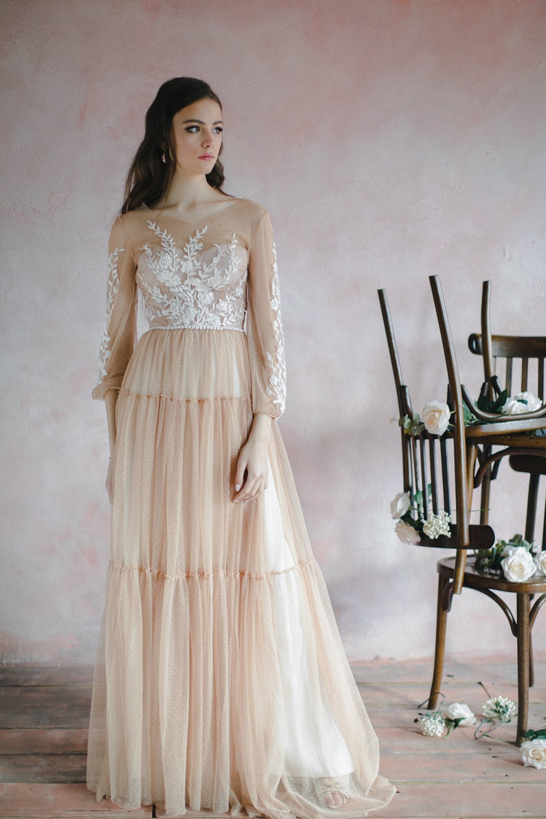 Nude wedding dress with bishop sleeves boho three-quarter image 2