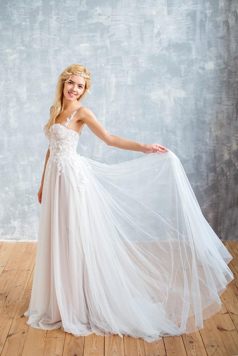 Nude Wedding Dress Boho Wedding Dress Ivory Wedding Dress Bridal Gown Flower Wedding Dress Lace Wedding Dress