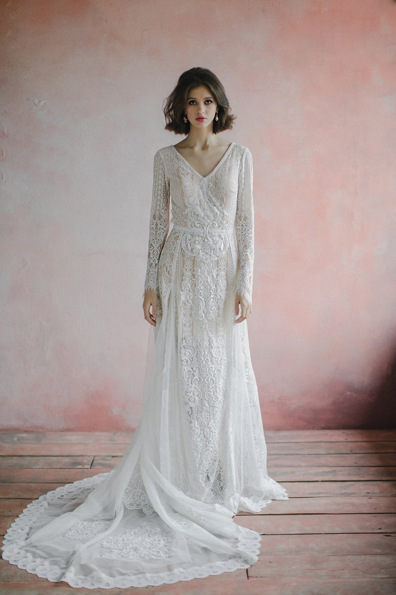 Amazing Long Sleeve bohemian wedding dress boho wedding image 3