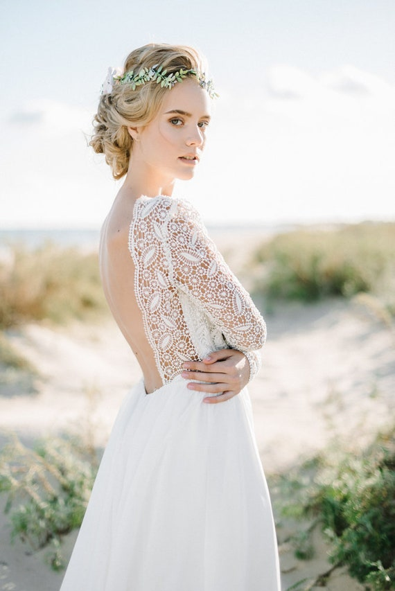 bohemian wedding dress, boho wedding dress,open back wedding dress, lace  wedding dress, backless wedding dress, chiffon wedding dress