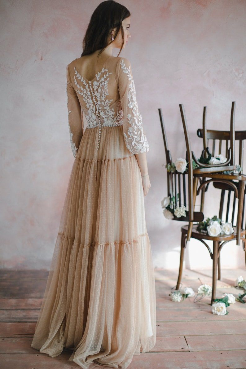 Nude wedding dress with bishop sleeves boho three-quarter image 5
