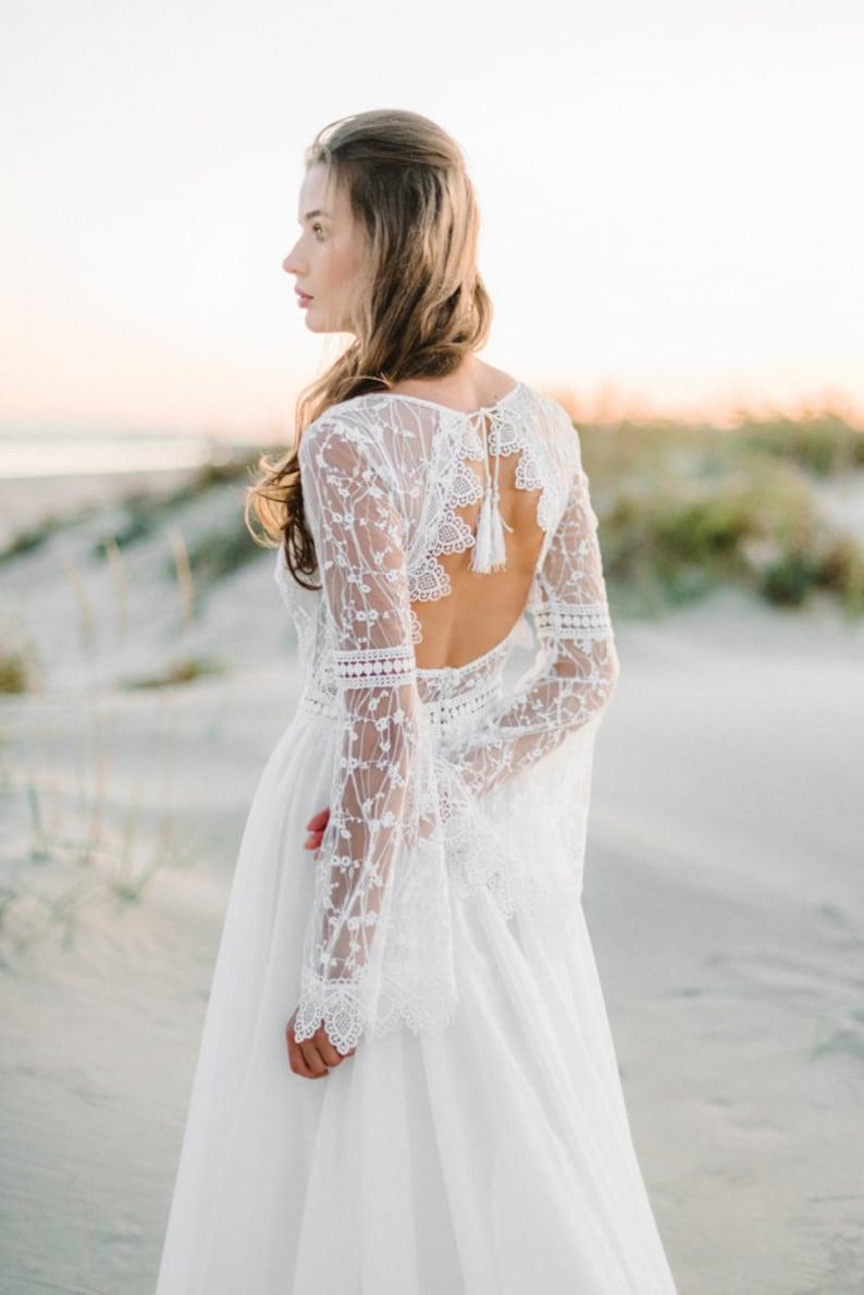 Amazing lange mouw Boho trouwjurk trouwjurk Boho kant image 0
