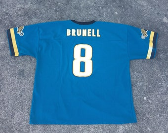 Vintage Mark Brunnel Football Jersey (Size XXL) Jacksonville Jaguars  Moncrief Duval County 90s Logo Athletic 87c89f827