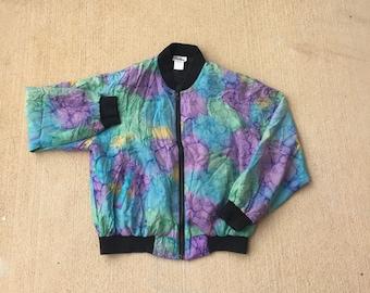 Vintage Multi-Color Windbreaker Jacket (Size Large) Vintage 90s Jacket  Colorblock Kalaidescope Cloud Jacket 0b6e753607c8b