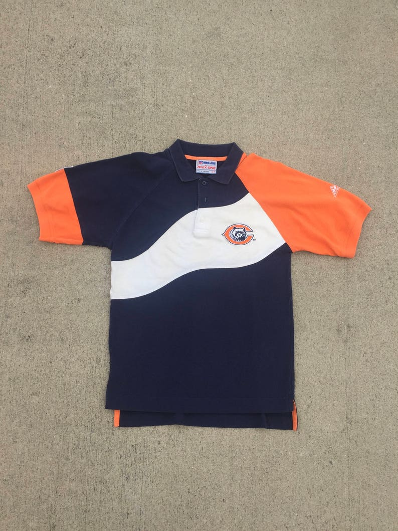 Vintage Apex One Chicago Bears 90s Colorblock Polo Shirt Size Small Vintage Chicago Bears Polo Shirt