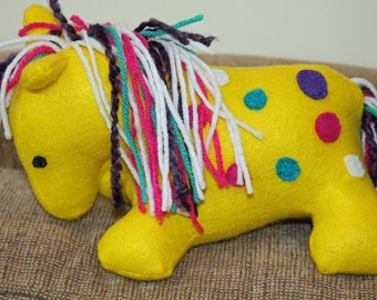 Horse Blue Fleece Horse Blue Horse Yellow Mane Stuffed Etsy