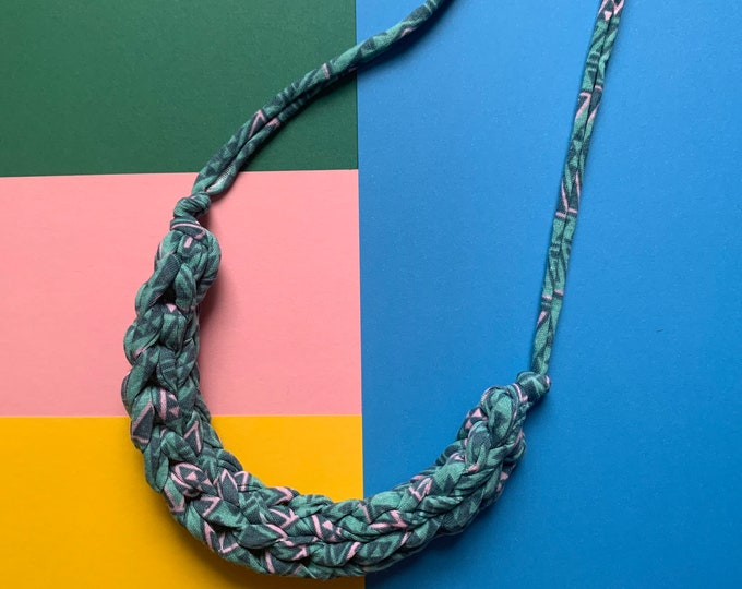 Featured listing image: Stellen Curve necklace: Geometric teal and pink chunky statement necklace made with patterned Tshirt yarn