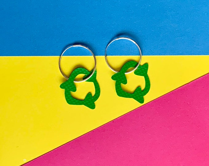 Featured listing image: Bouncy Castle RECYCLE earrings   Stellen X Wyatt and Jack   sterling silver hoop   recycled green plastic earrings   silver earrings   PVC
