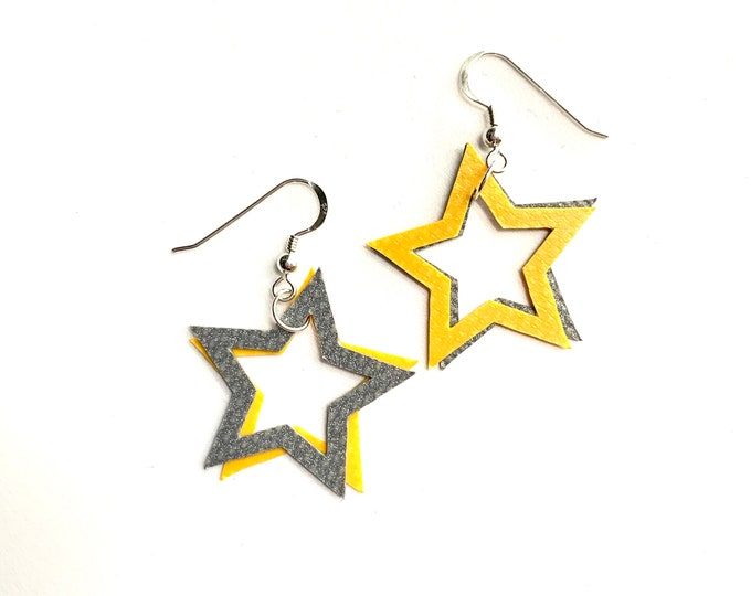 Featured listing image: STAR Earrings Bouncy Castle PVC | sterling silver | rescued materials | colour pop | Yellow + Silver | Stellen X Wyatt and Jack