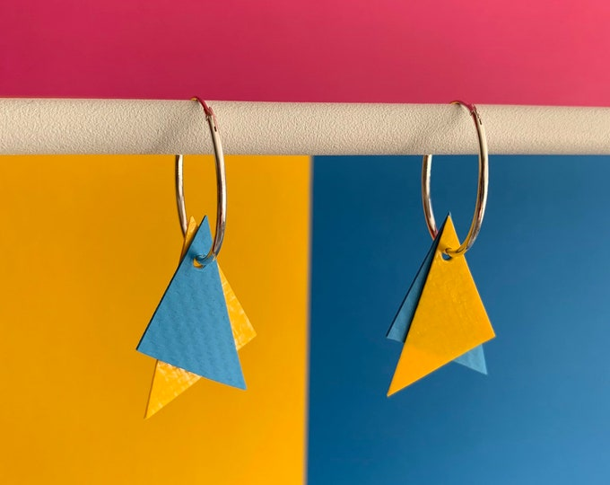 Featured listing image: Bouncy Castle Earrings | Yellow + Light Blue | recycled broken bouncy castle PVC triangles + sterling silver