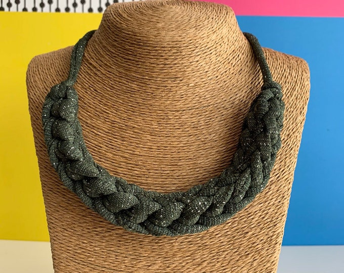 Featured listing image: Stellen Curve necklace: Olive Sparkle chunky statement necklace made with green Tshirt yarn, boho, eco