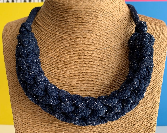 Featured listing image: Stellen Curve necklace: Midnight Sparkle chunky statement necklace made with blue Tshirt yarn, boho, eco