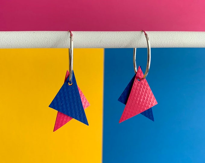 Featured listing image: Bouncy Castle Earrings   Blue + Pink   recycled broken bouncy castle PVC triangles + sterling silver