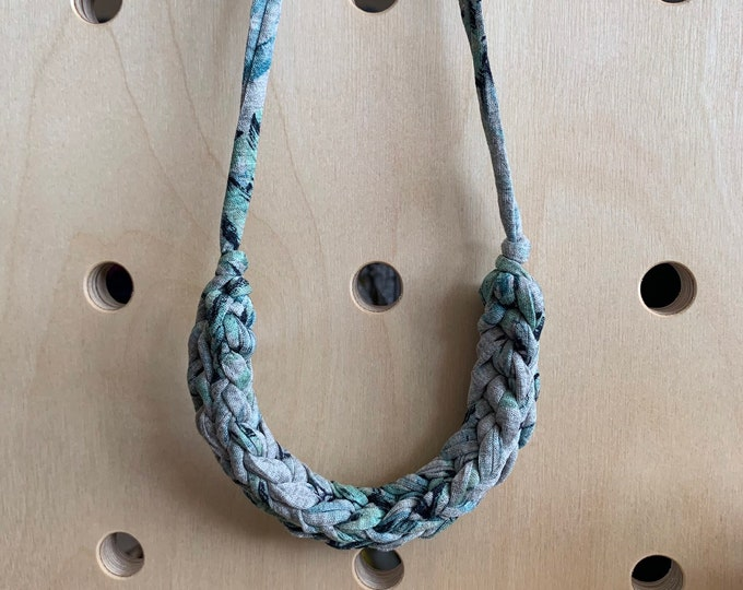 Featured listing image: Stellen Curve necklace: Grey with Green leaves, chunky statement necklace made with green patterned Tshirt yarn, boho, eco, jungle, plants