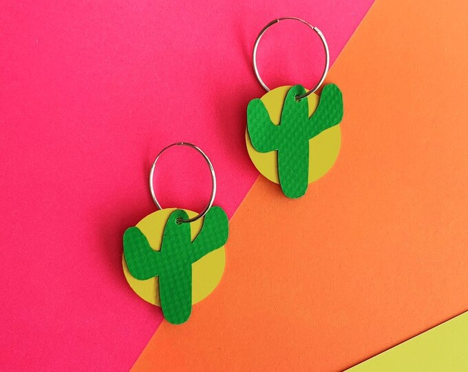 Featured listing image: Cactus Hoop Earrings Bouncy Castle PVC | sterling silver | rescued materials | Cute | colour pop | eco friendly | Green + Yellow