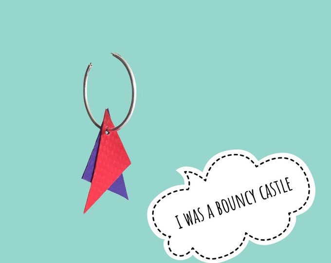 Featured listing image: Bouncy Castle Earrings | Red + Purple | recycled broken bouncy castle PVC triangles + sterling silver