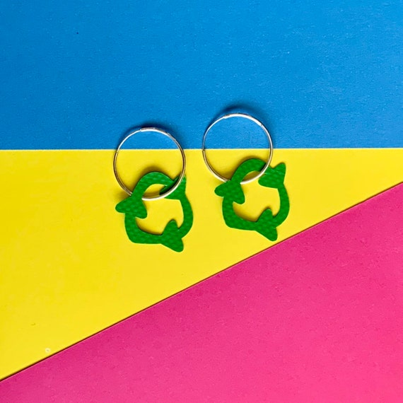 Bouncy Castle RECYCLE earrings | Stellen X Wyatt and Jack | sterling silver hoop | upcycled green plastic earrings | PVC