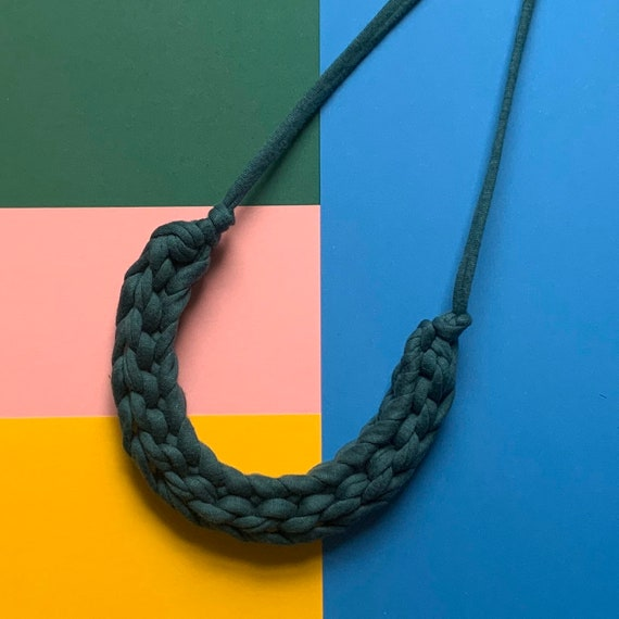 Stellen Curve necklace: Deep Teal chunky statement necklace made with green-blue Tshirt yarn
