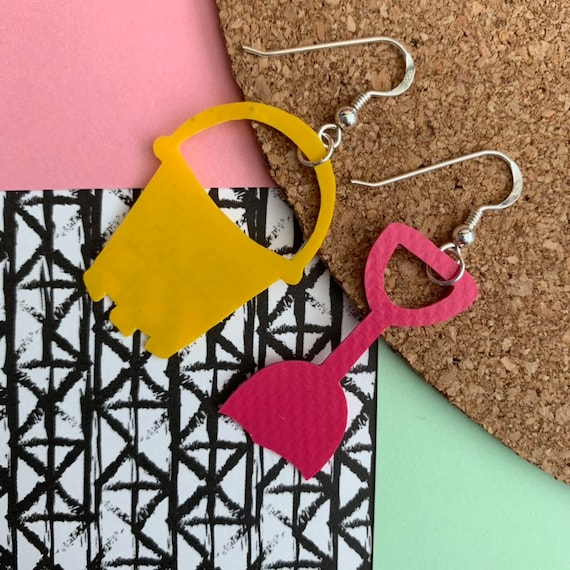 Bouncy Castle Earrings | Yellow + Pink | recycled broken bouncy castle PVC Bucket and Spade + sterling silver | seaside