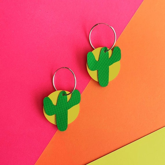 Cactus Hoop Earrings Bouncy Castle PVC | sterling silver | rescued materials | Cute | colour pop | Green + Yellow
