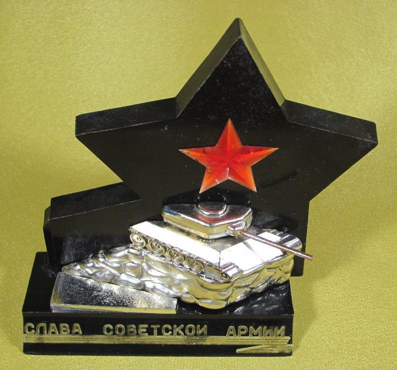 Vintage Soviet Desktop Souvenir Tank T-34 with red STAR Glory to Soviet Army Soviet Design Retro Home Decor Old Style Gift USSR 3