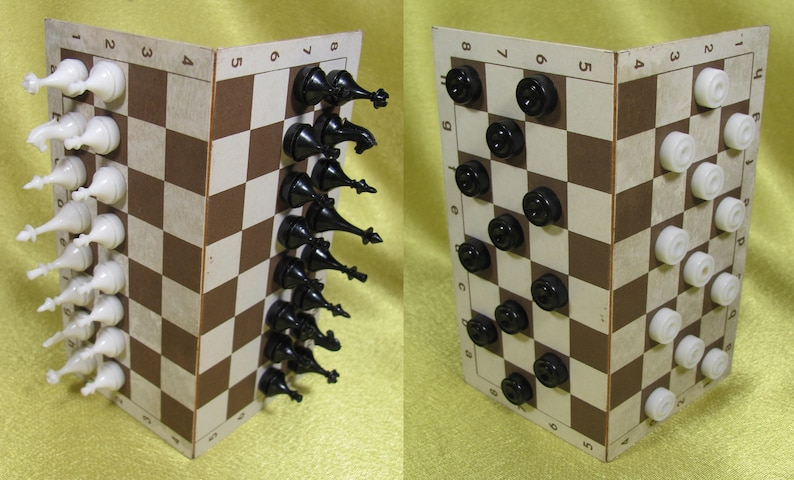 Vintage Soviet Set of Road Games Chess Checkers Dominoes Soviet Design Retro Old Style Gift USSR